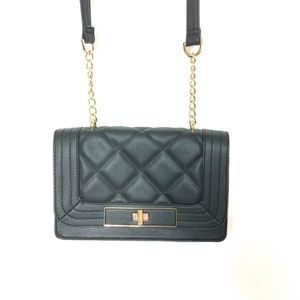 Mossimo Black Quilted Cross Body Bag w/ Gold Chain